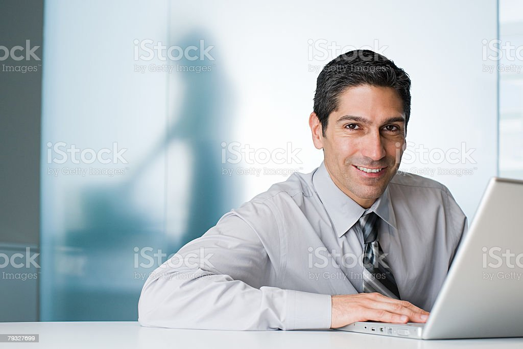 Smiling office worker royalty-free stock photo