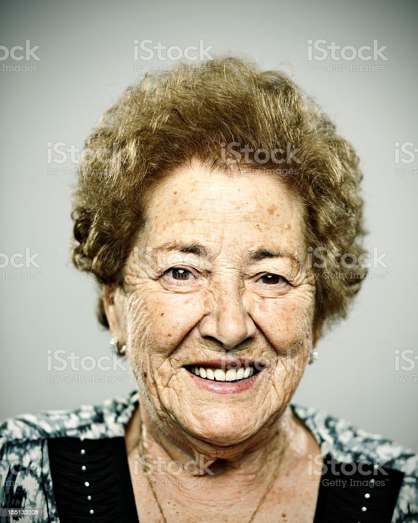 Smiling old woman stock photo