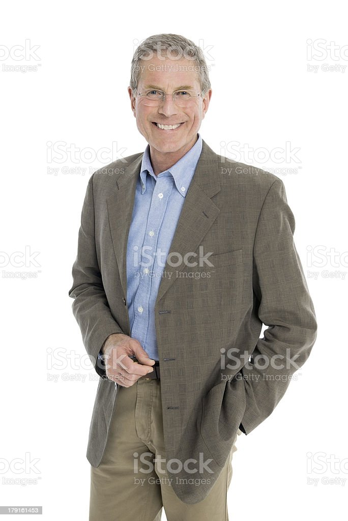 Smiling older casual business man standing for a portrait royalty-free stock photo