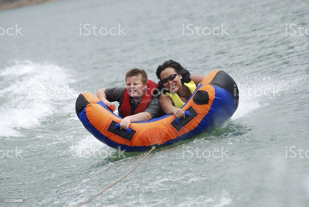 Smiling on the Inner Tube royalty-free stock photo