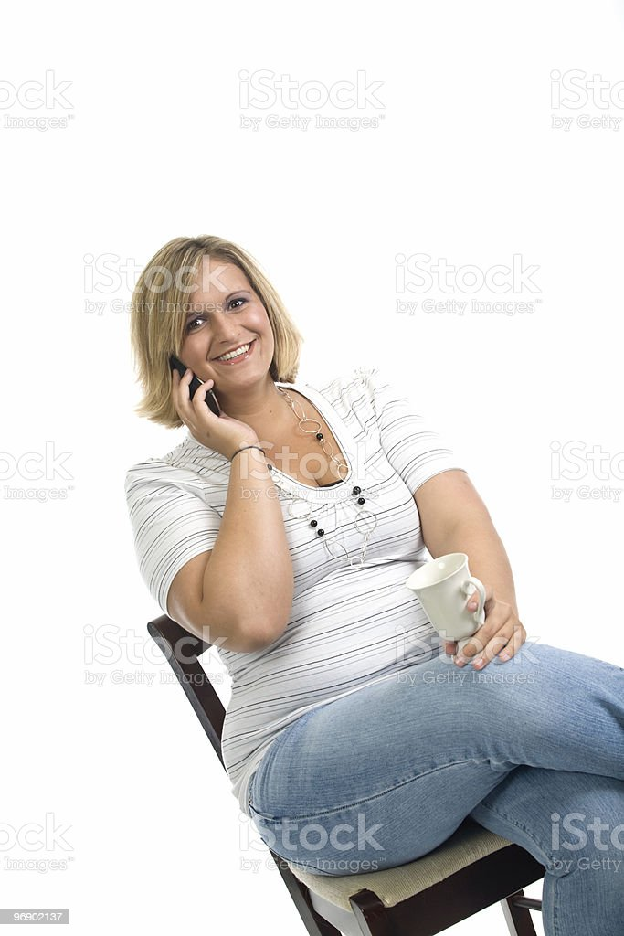 Smiling on the Phone royalty-free stock photo