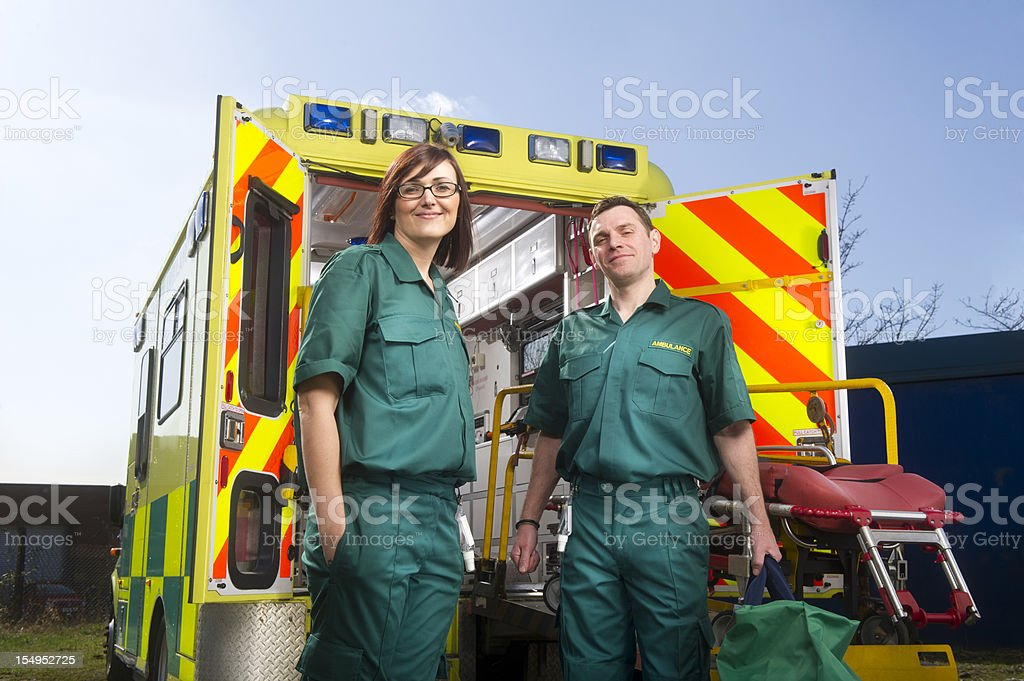 Smiling paramedics stock photo