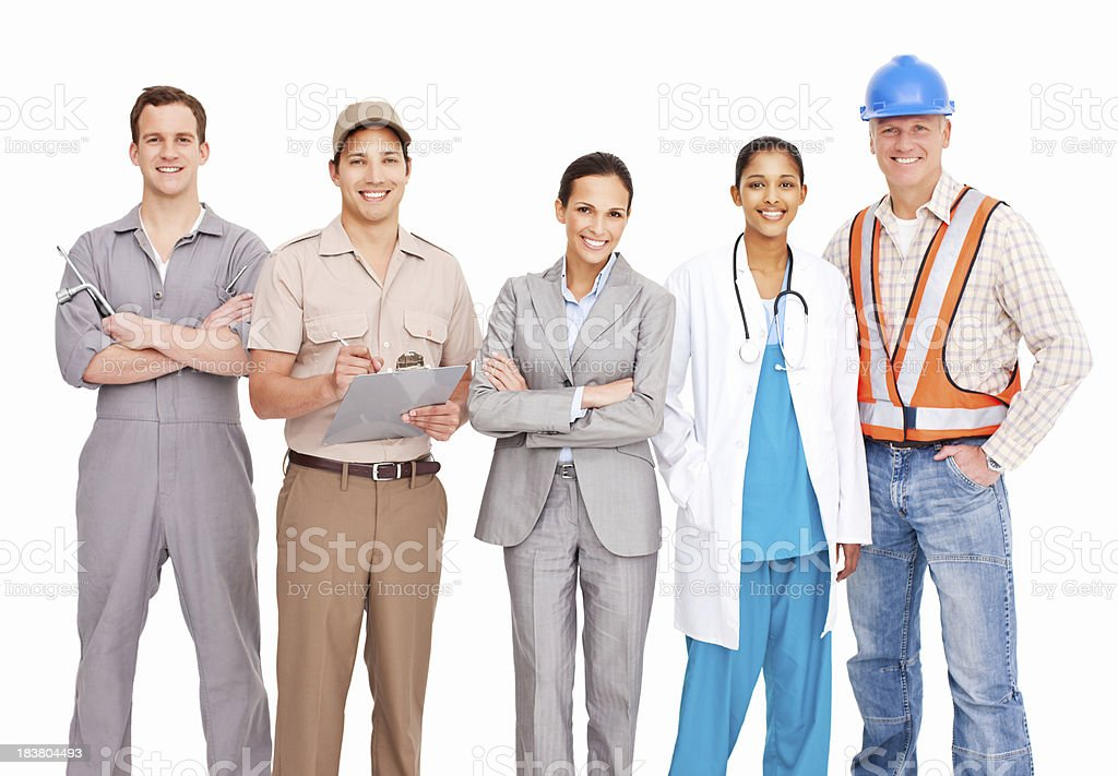 Smiling People Of Various Occupations - Isolated royalty-free stock photo