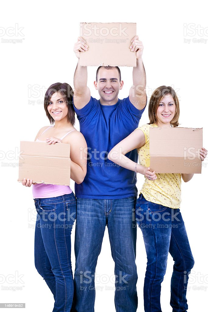 smiling people with blank papers royalty-free stock photo