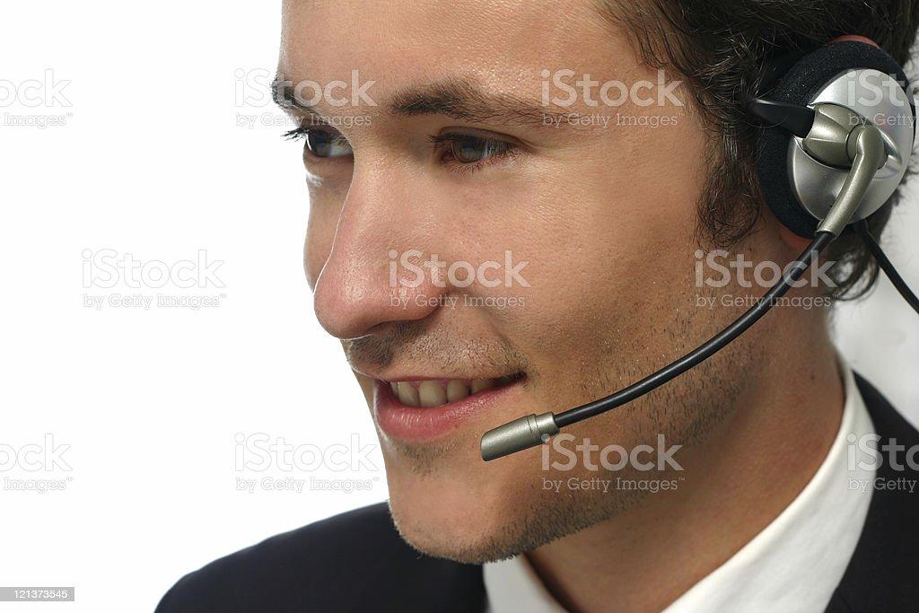 Smiling Phone Operator at work royalty-free stock photo