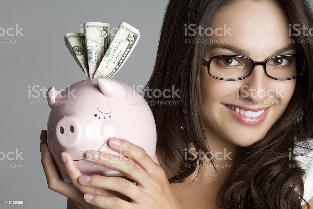 Smiling Piggybank Girl royalty-free stock photo