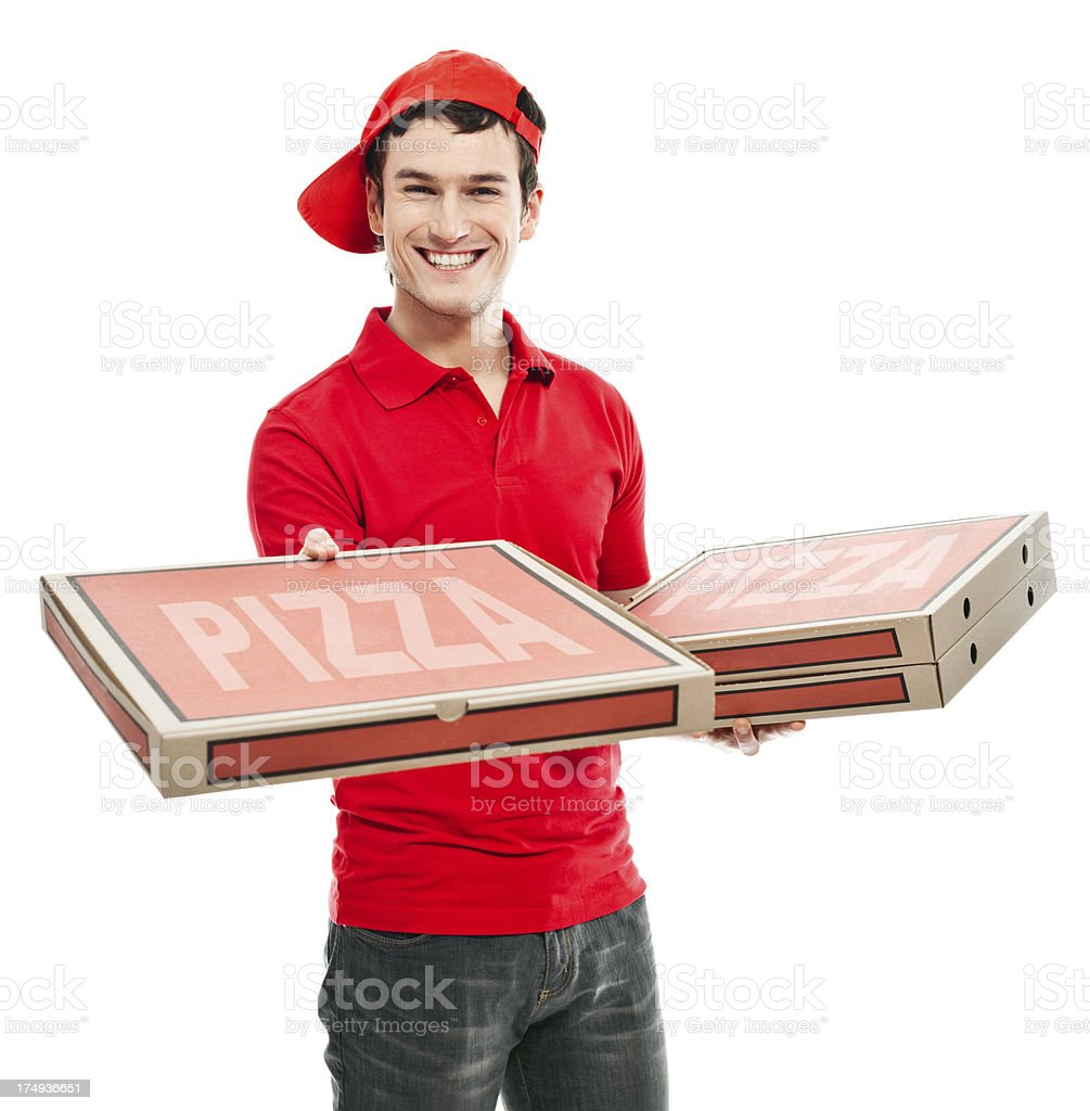Smiling pizza boy stock photo