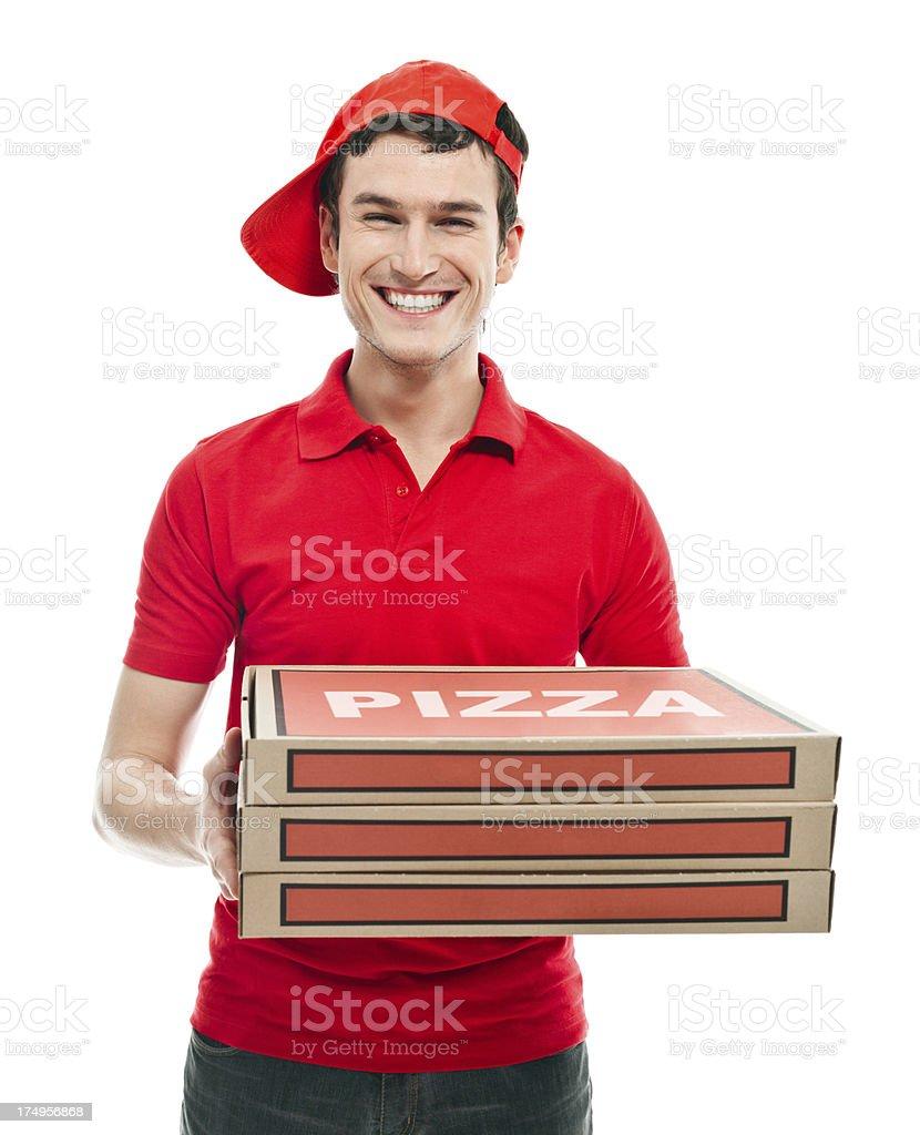 Smiling pizza boy royalty-free stock photo
