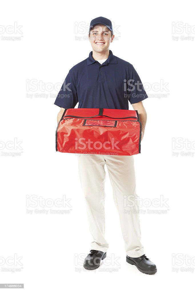 Smiling Pizza Delivery Man with Insulated Package on White Background royalty-free stock photo