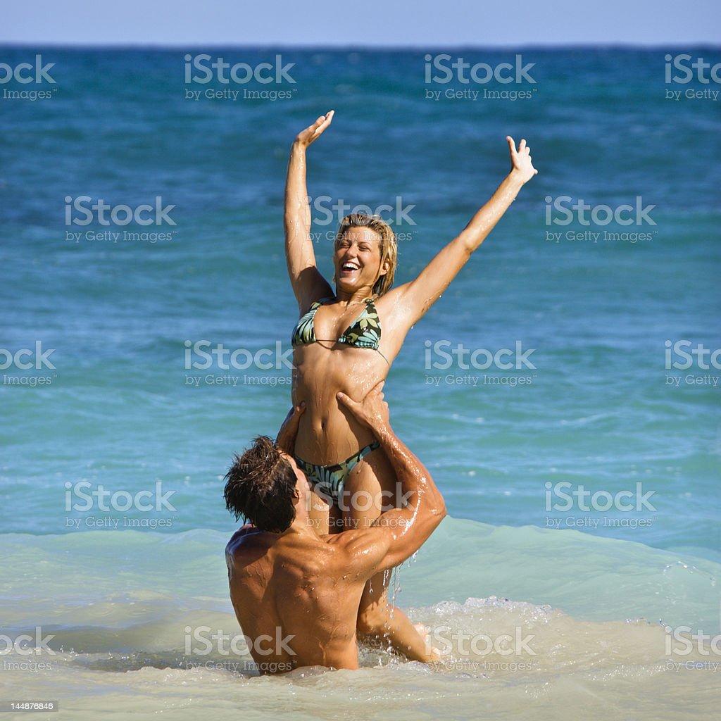 Smiling playful couple. royalty-free stock photo