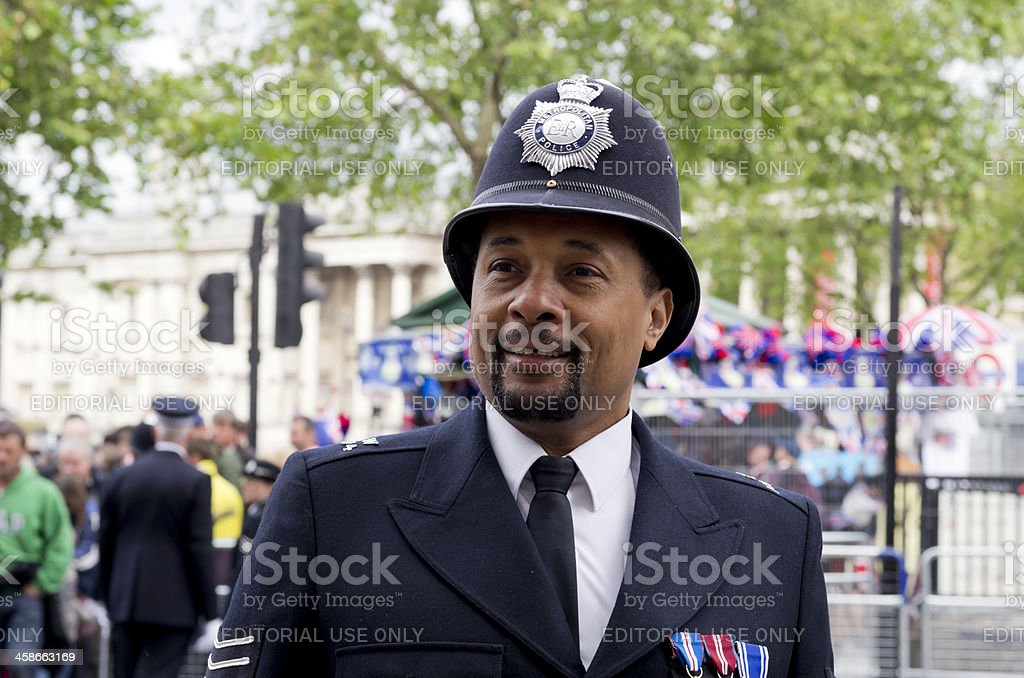 Smiling police sergeant during the Jubilee celebrations stock photo