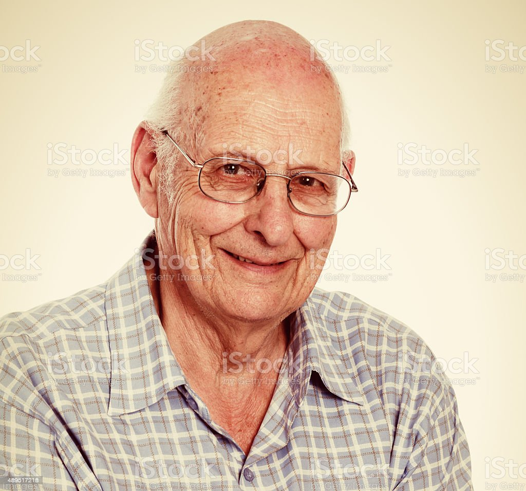 Smiling, positive, friendly, 85 year old man stock photo