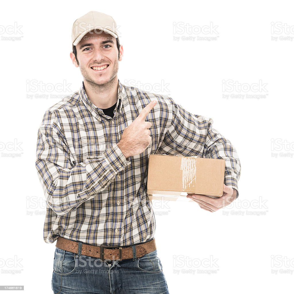 Smiling postman aiming a message royalty-free stock photo