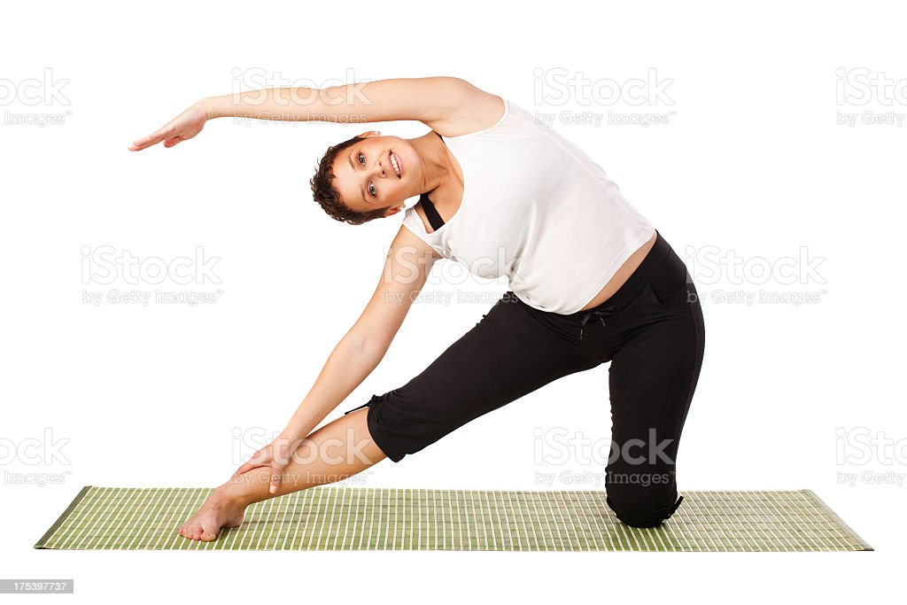Smiling pregnant girl working out royalty-free stock photo