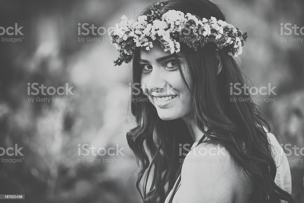 Smiling retro beauty royalty-free stock photo