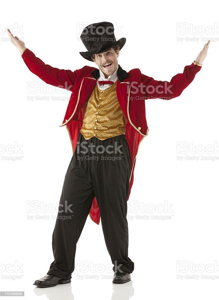 Smiling ringmaster performing stock photo