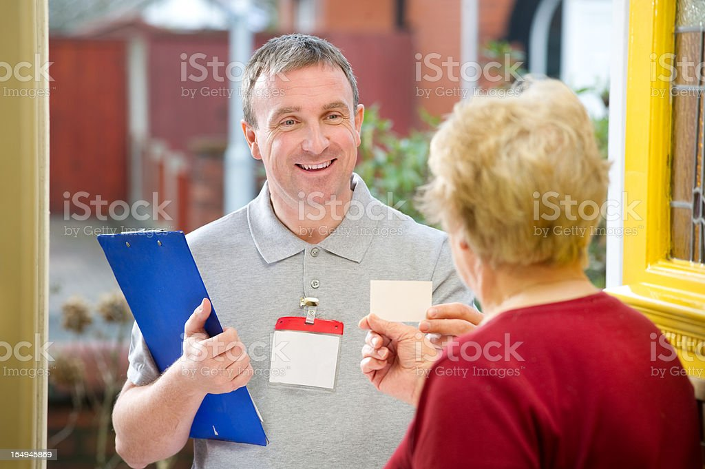 Smiling salesman stock photo