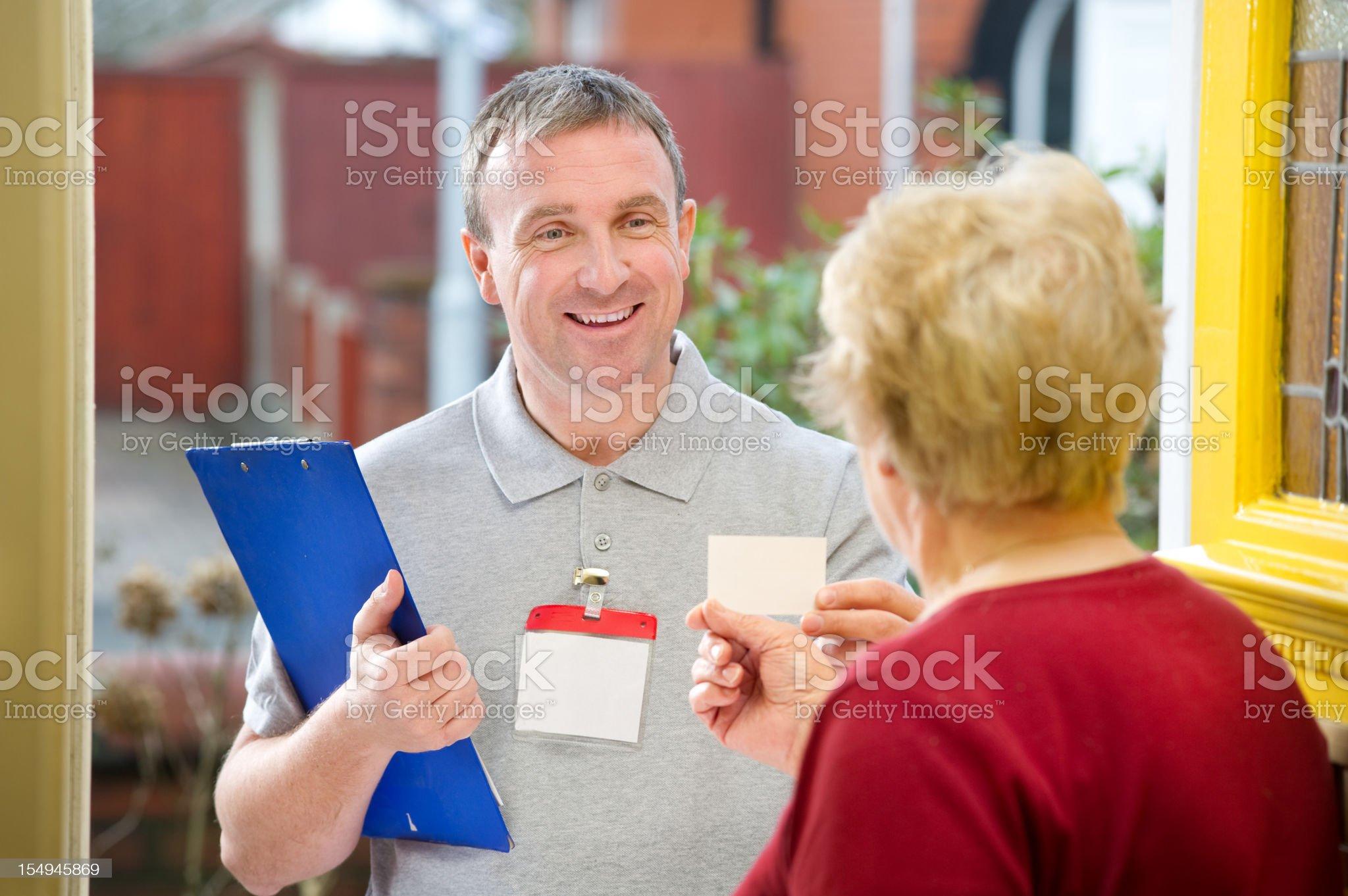 Smiling salesman royalty-free stock photo