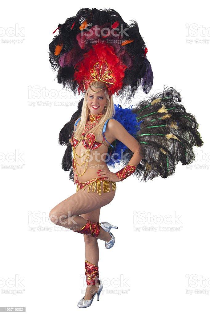 Smiling samba carnival dancer posing. stock photo