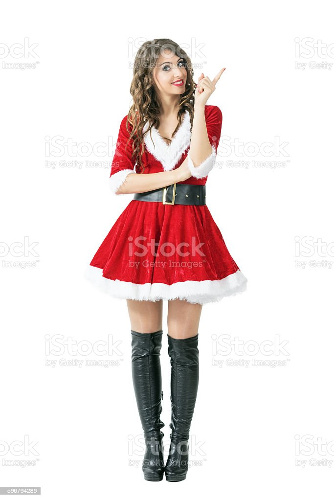 Smiling Santa Claus woman scolding finger looking at camera stock photo