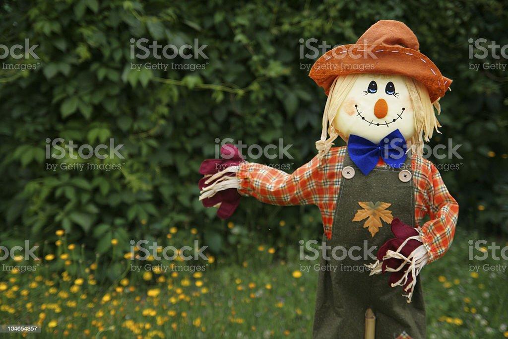 Smiling scarecrow stock photo