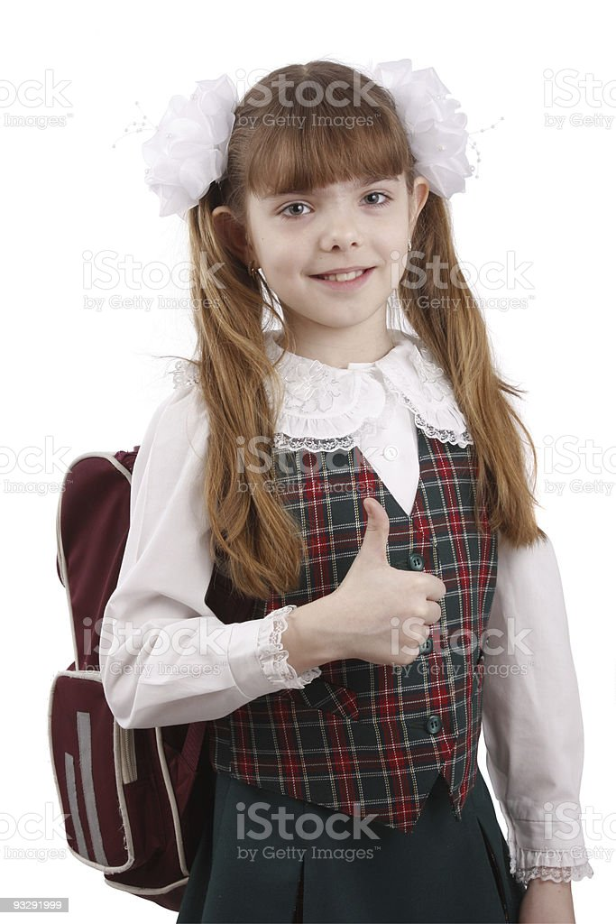 Smiling school girl. Education. OK sign. stock photo