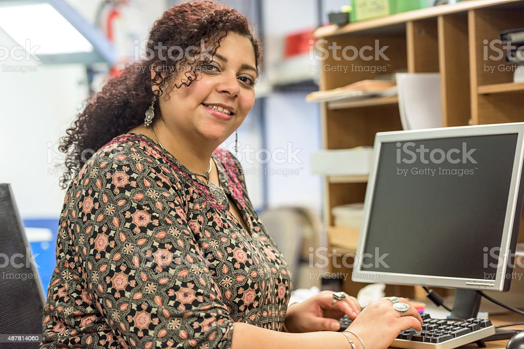 Smiling secretary stock photo
