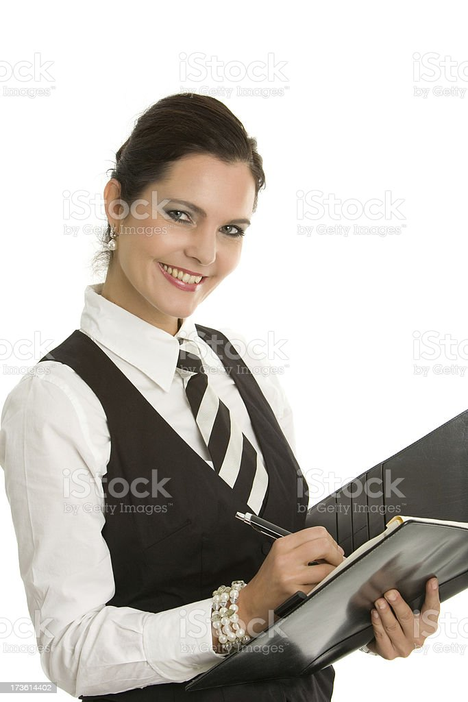 Smiling secretary with notebook stock photo