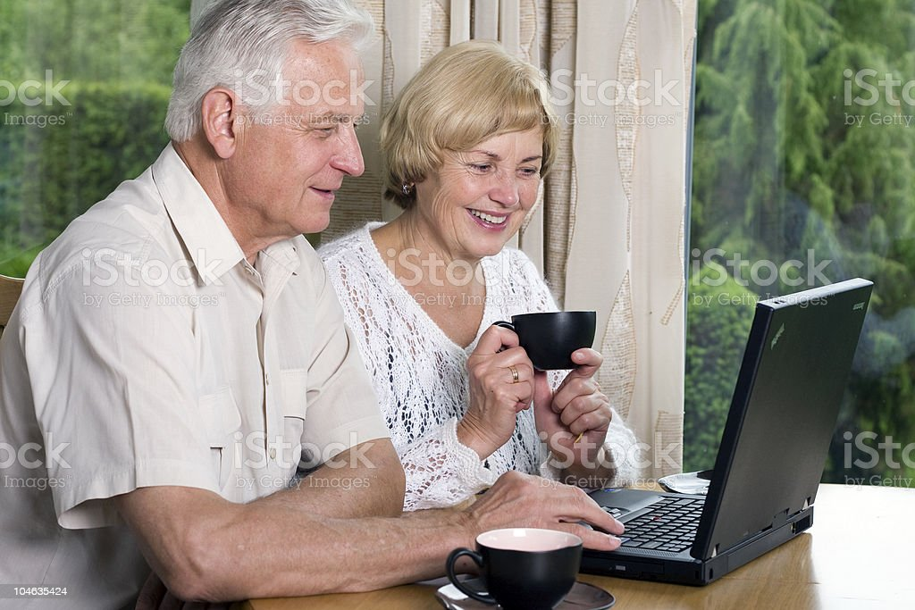 Smiling senior couple using laptop at home royalty-free stock photo
