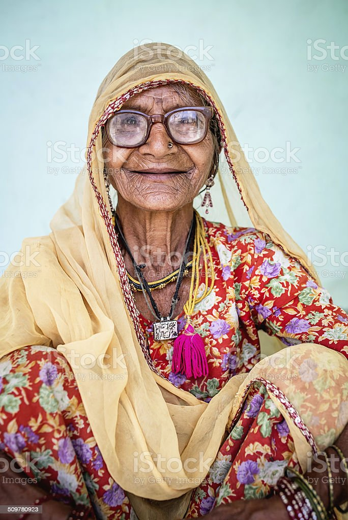 Smiling Senior Indian Woman, Real People Portrait stock photo
