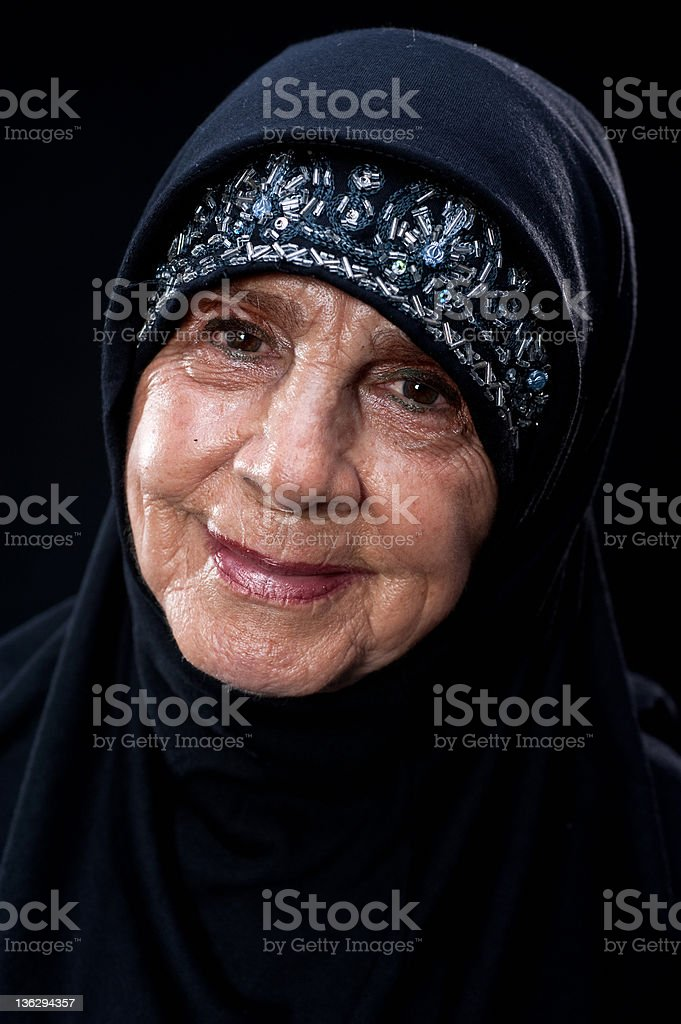 Smiling senior muslim woman royalty-free stock photo
