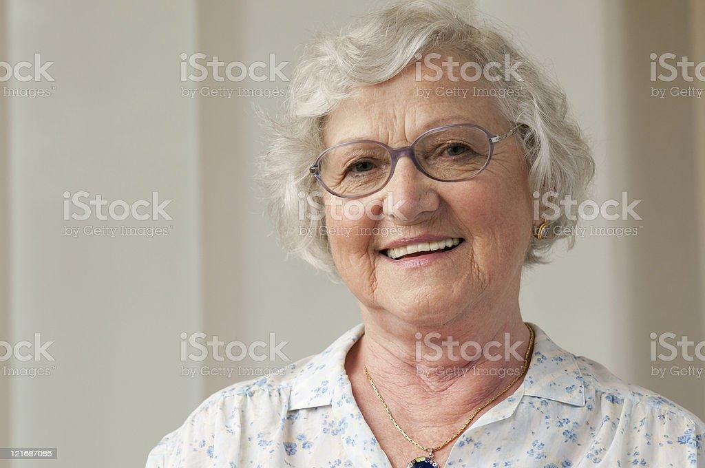 Smiling senior woman closeup stock photo