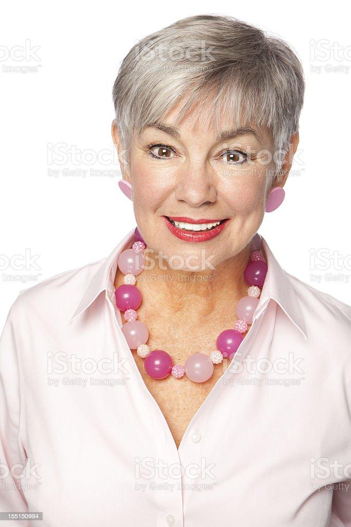 Smiling senior woman stock photo