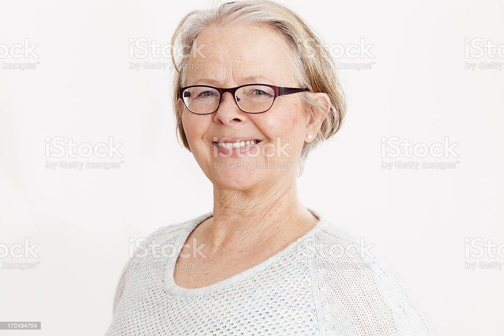smiling senior woman with eyeglasses royalty-free stock photo