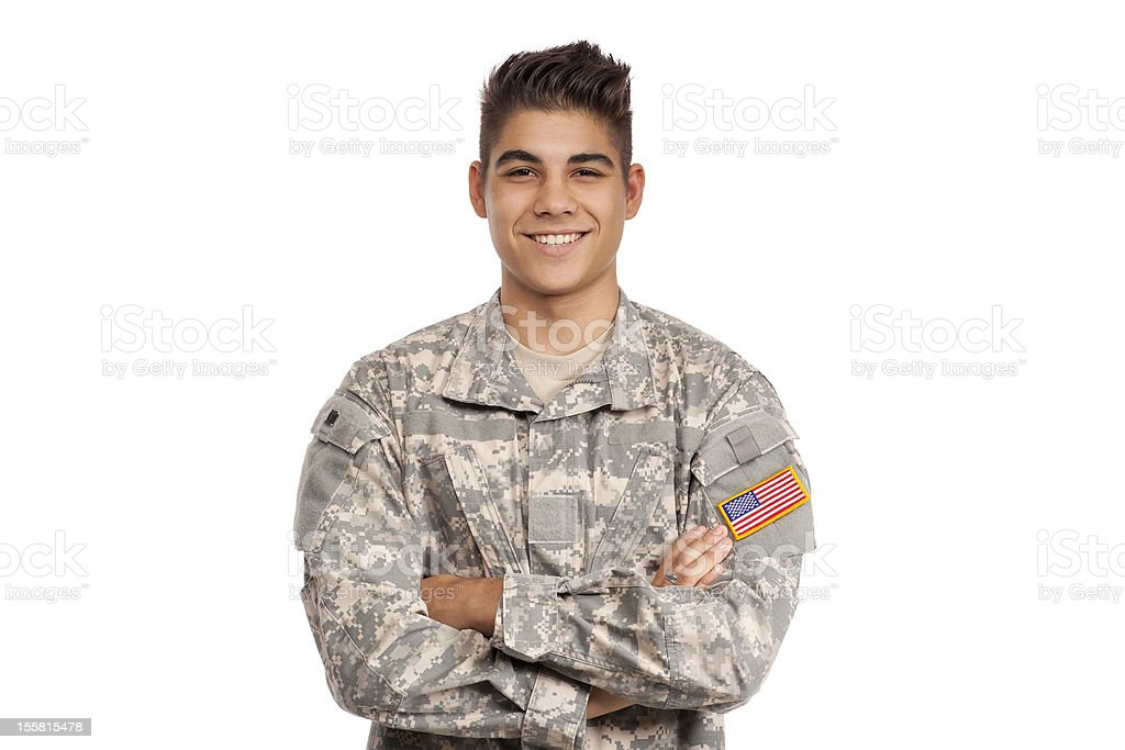 Smiling serviceman with his arms crossed royalty-free stock photo