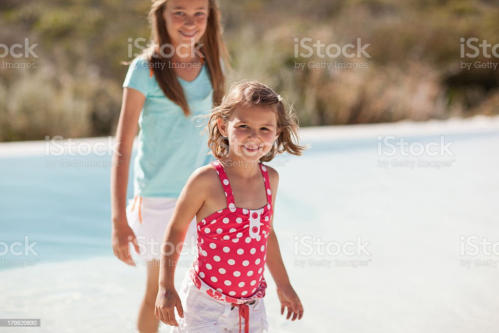 Smiling sisters  royalty-free stock photo