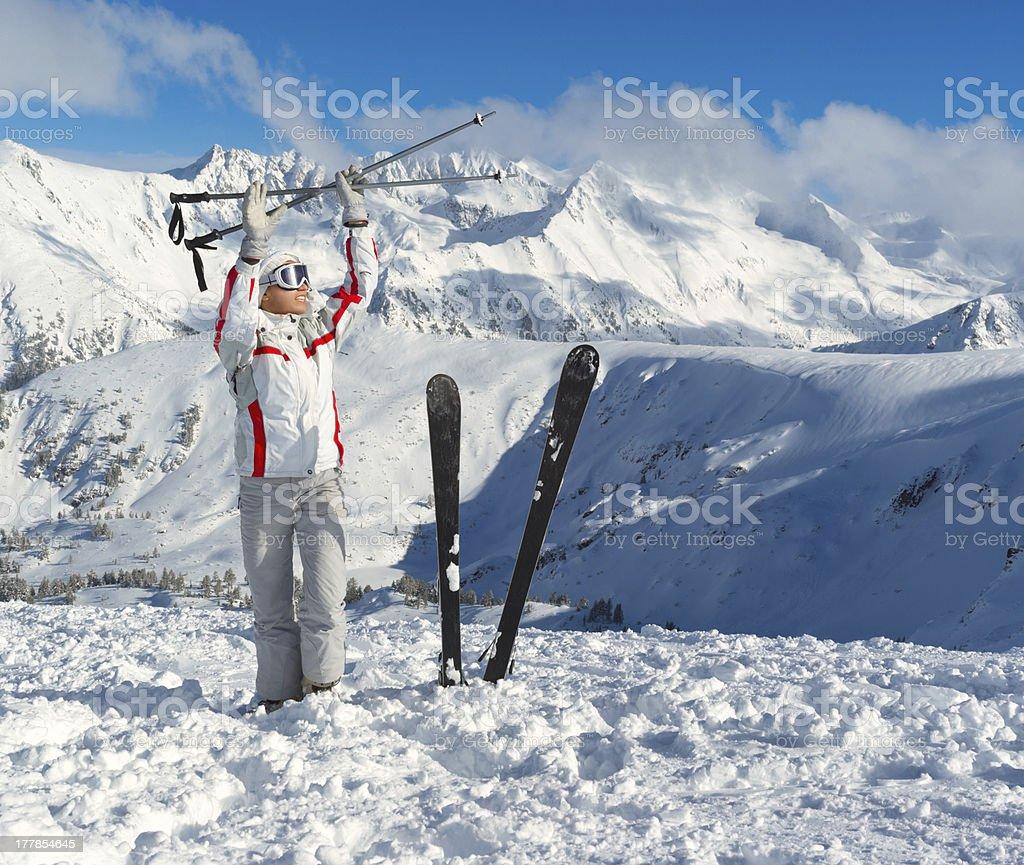Smiling skier posing on the top of Pirin mountains royalty-free stock photo