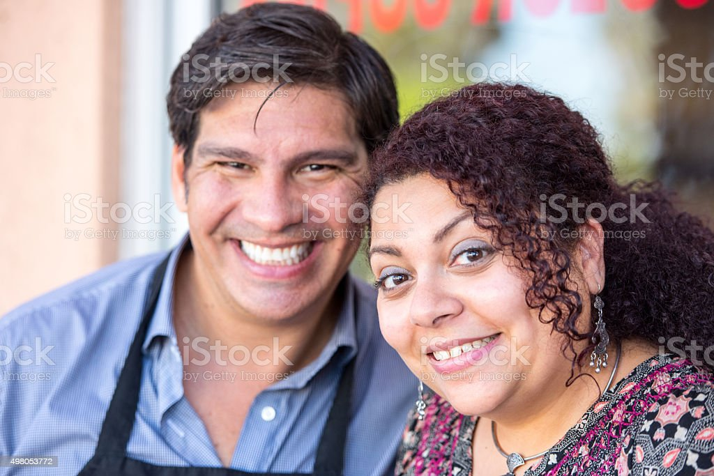 Smiling small business owners stock photo