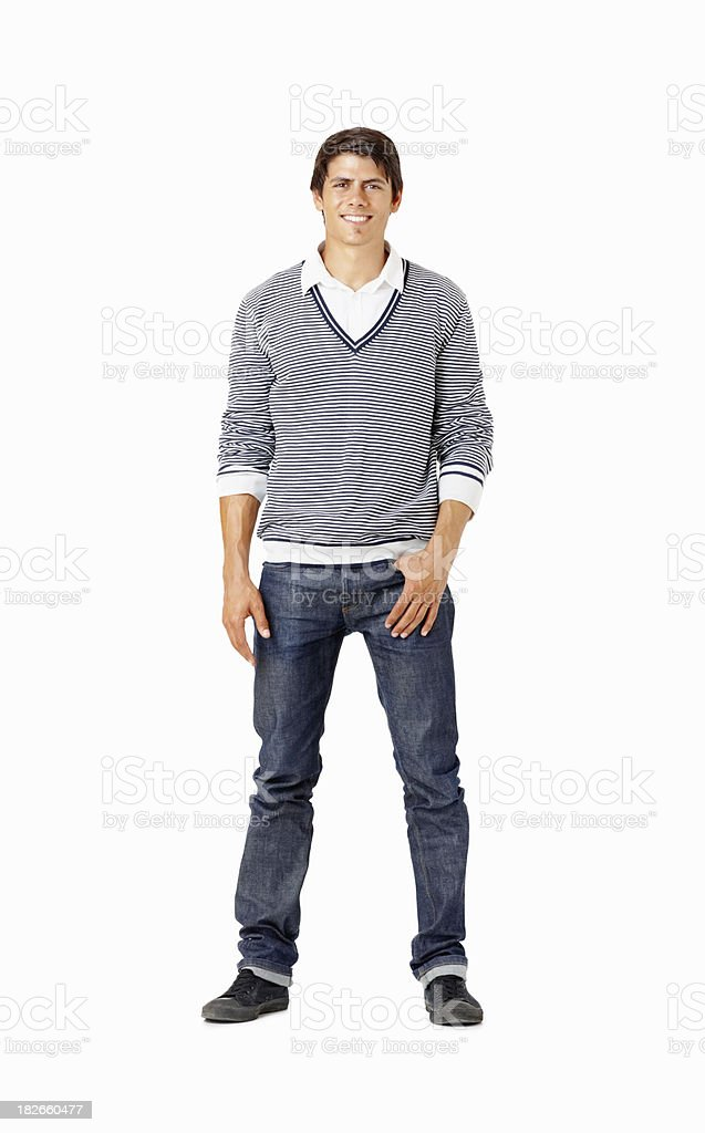 Smiling smart man standing isolated on white royalty-free stock photo