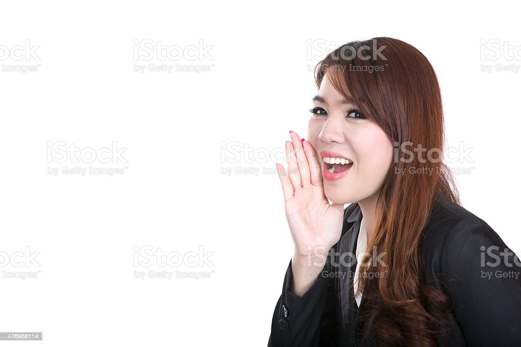 smiling smart operater business woman , concept speak on blank space stock photo
