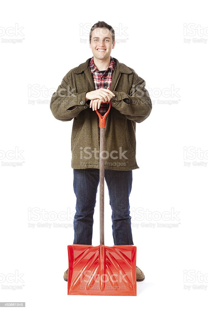 Smiling Snow Removal Man with Shovel on White Background stock photo