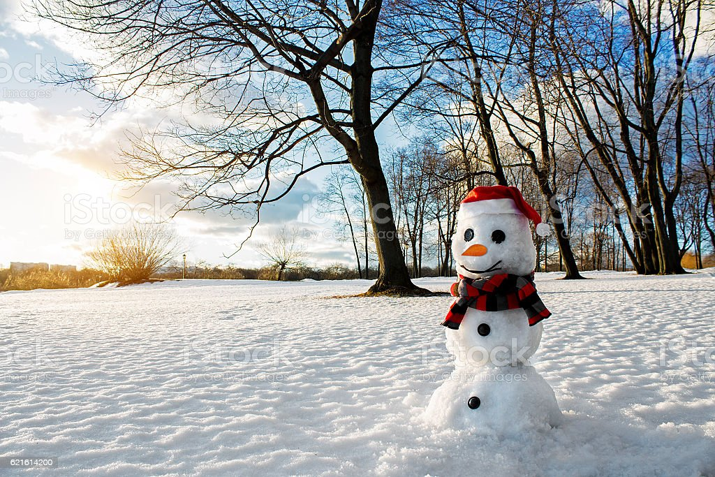 Smiling snowman. Picturesque winter landscape. Holiday mood. stock photo