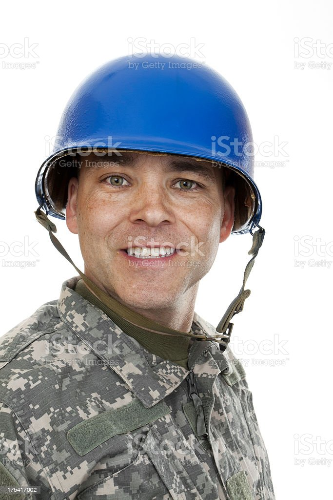 Smiling Soldier in Helmet royalty-free stock photo