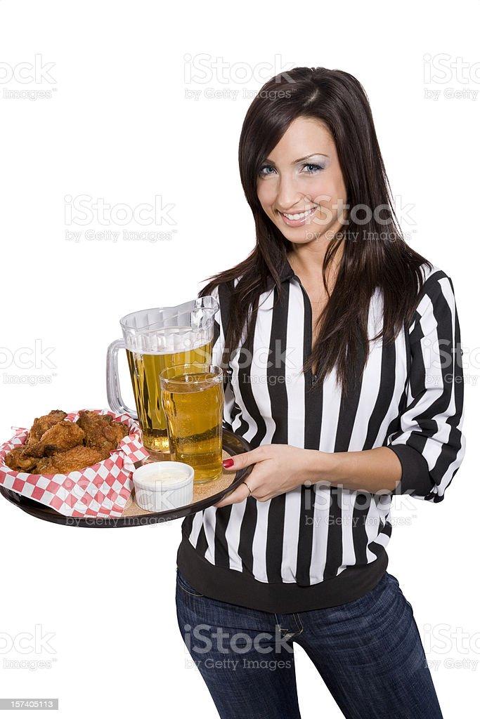 Smiling Sports Bar Waitress royalty-free stock photo