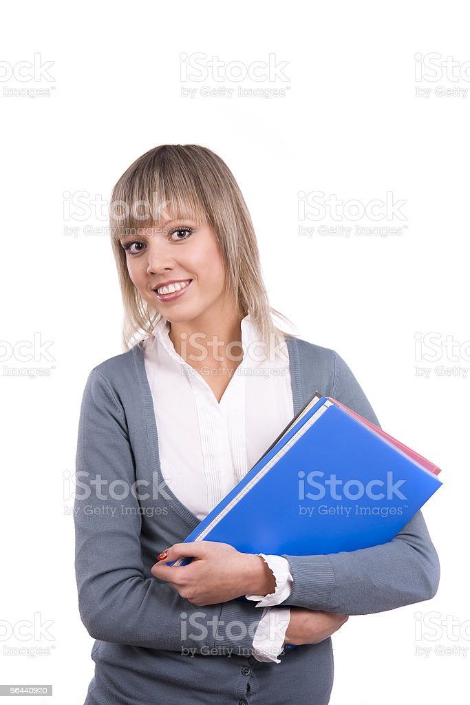 Smiling student with files royalty-free stock photo