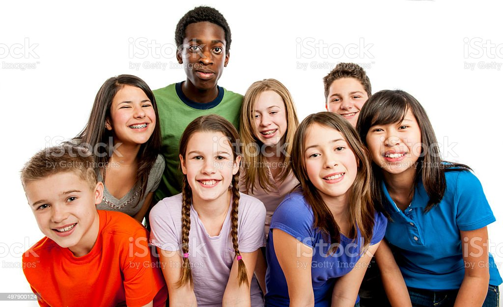 Smiling Students Standing Together stock photo