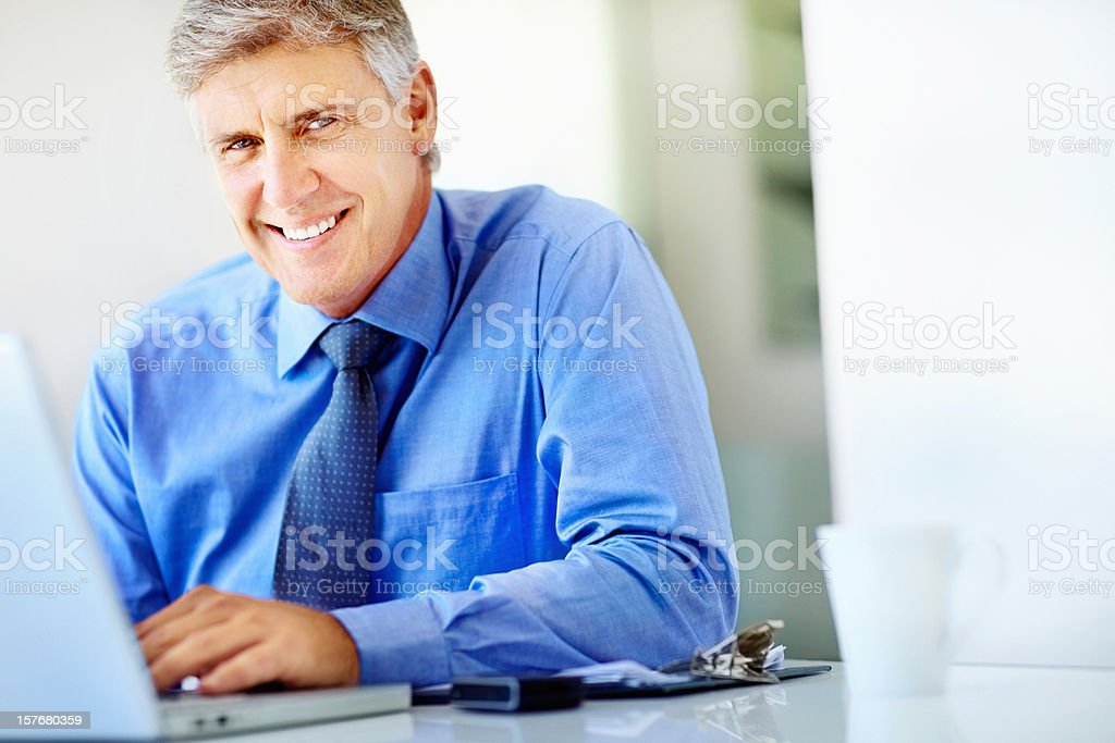 Smiling successful business man using a laptop at work royalty-free stock photo