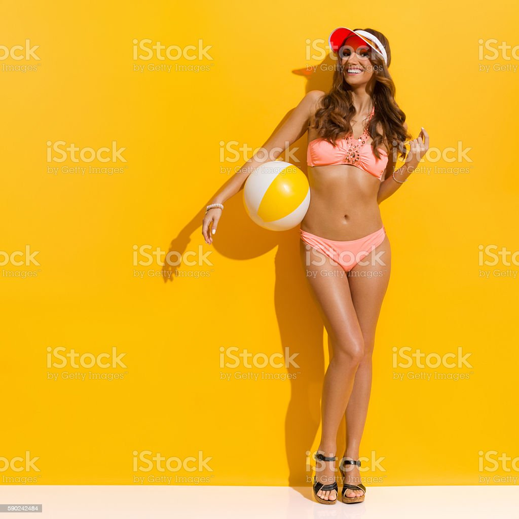 Smiling Summer Woman In Pink Swimwear stock photo