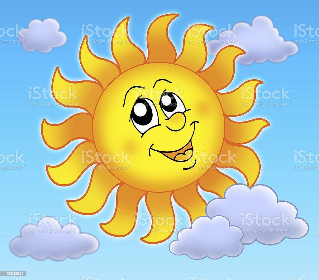 Smiling Sun on blue sky royalty-free stock photo