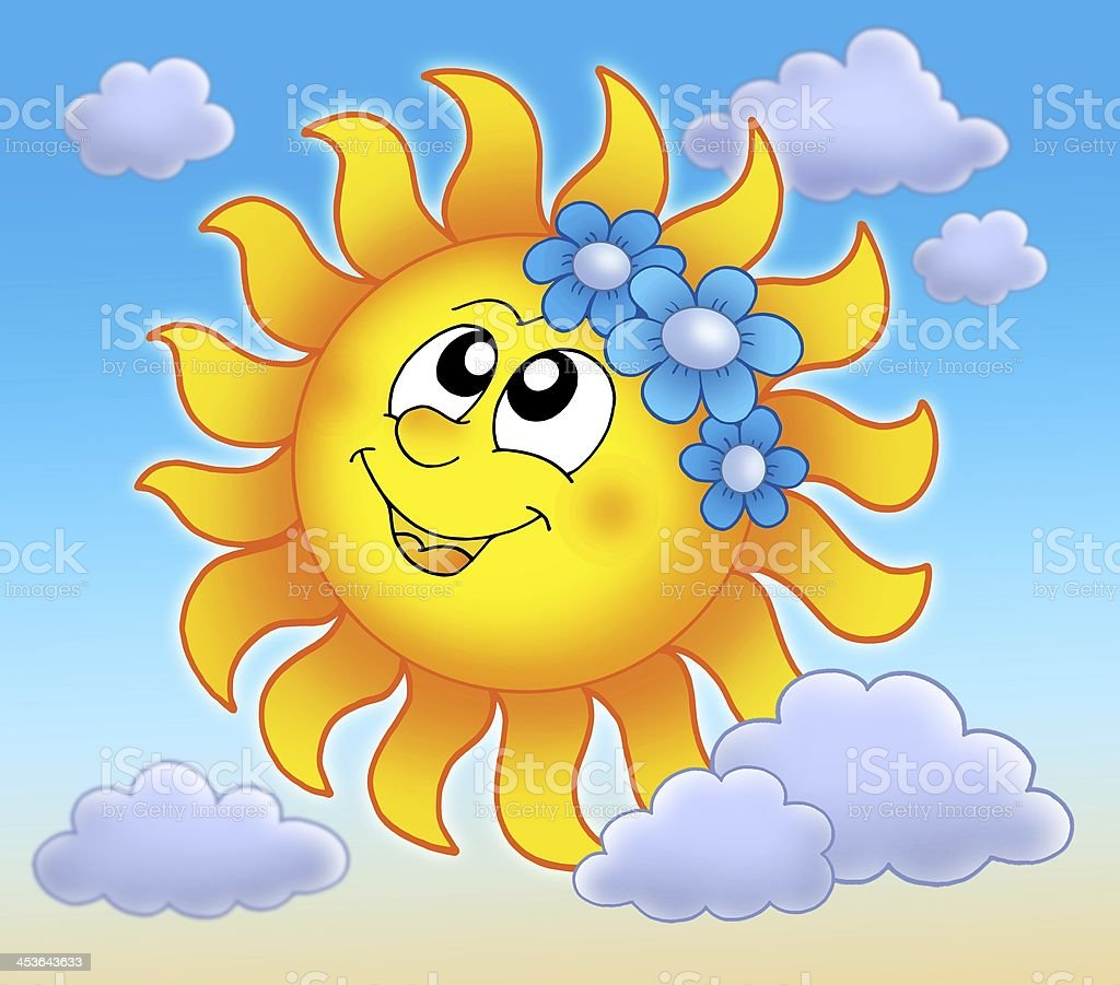 Smiling Sun with flowers on blue sky royalty-free stock photo